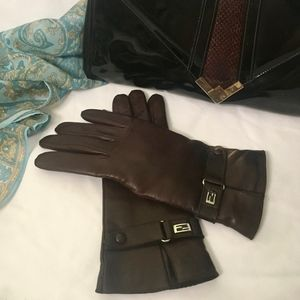 FENDI Brown Leather Gloves - 7